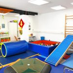 Specialized trainings in our fun gym are parts of the occupational services we offer at Growing Up Therapy